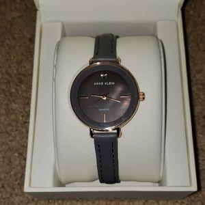 Anne Klein diamond accent gray leather strap watch